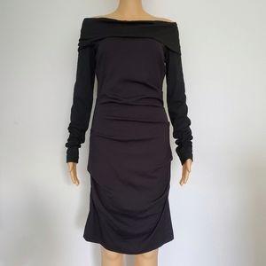 Atelier Nicole Miller Cali Ponte offshoulder dress